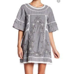 Free People Baby Doll Black Plaid Dress